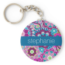 Teal and Pink Floral Pattern with Custom Baby Name Keychain