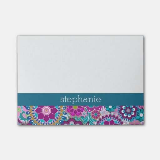 Teal and Pink Floral Pattern with Custom Baby Name Post-it(r) Notes