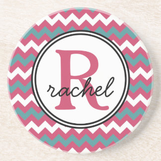 Teal and Pink Girly Monogram Chevrons Drink Coaster