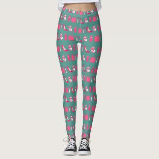 Teal and pink girly things design leggings