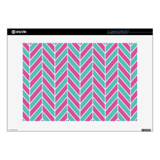 Teal and Pink Herringbone Decals For Laptops