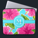 "Teal and Pink Hibiscus Monogram Personalized Laptop Sleeve<br><div class=""desc"">Customized Laptop Sleeve:  Trendy Script Typography and Initial Monogram/Lovely Pink Hibiscus Floral Pattern/Coordinating Teal Backgound/Can be Personalized With Any Name Or Phrase</div>"