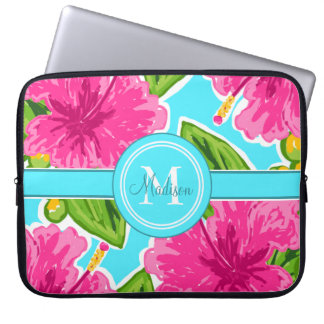 Teal and Pink Hibiscus Monogram Personalized Laptop Sleeve