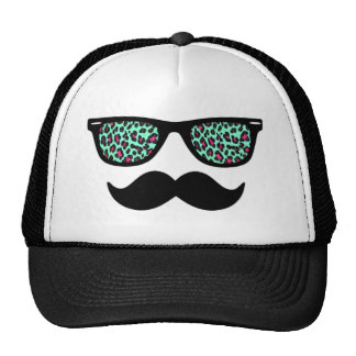Teal and Pink Leopard Wayfarer Mustache Design Trucker Hat