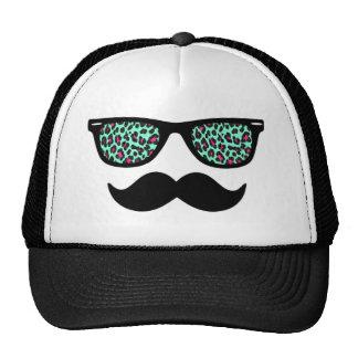 Teal and Pink Leopard Wayfarer Mustache Design Trucker Hat