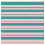 [ Thumbnail: Teal and Pink Lines Pattern Fabric ]