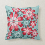 Teal and Pink Mod Flowers Throw Pillow