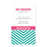 Teal and Pink Modern Chevron Stripes Double-Sided Standard Business Cards (Pack Of 100)