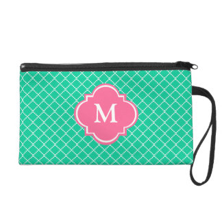 Teal and Pink Mongoram Wristlet Gift for Her