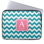 Teal and Pink Monogram Chevron Print Laptop Sleeve