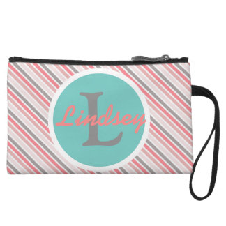 Teal and Pink Monogram Striped Clutch