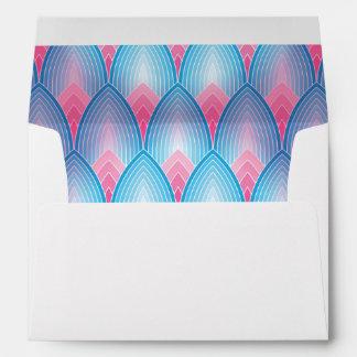 Teal And Pink Petal Pattern Envelope