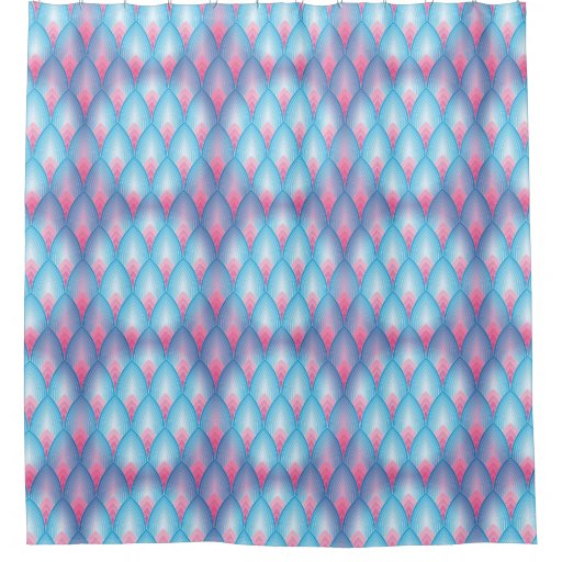 Teal And Pink Petal Pattern Shower Curtain Zazzle