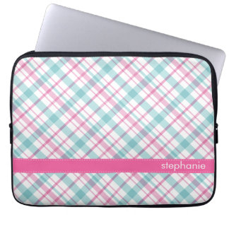 Teal and Pink Plaid Pattern Laptop Computer Sleeve
