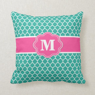 Teal and Pink Quatrefoil Monogram Pillow