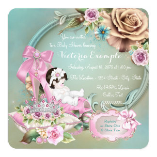 Teal and Pink Shoe Rose Baby Shower Card