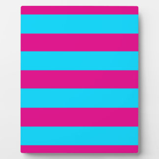Teal and Pink Stripes Display Plaques