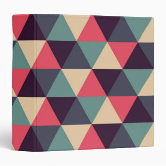 Teal And Pink Triangle Pattern 3 Ring Binder