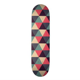 Teal And Pink Triangle Pattern Skateboard Deck