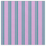 [ Thumbnail: Teal and Plum Lined/Striped Pattern Fabric ]