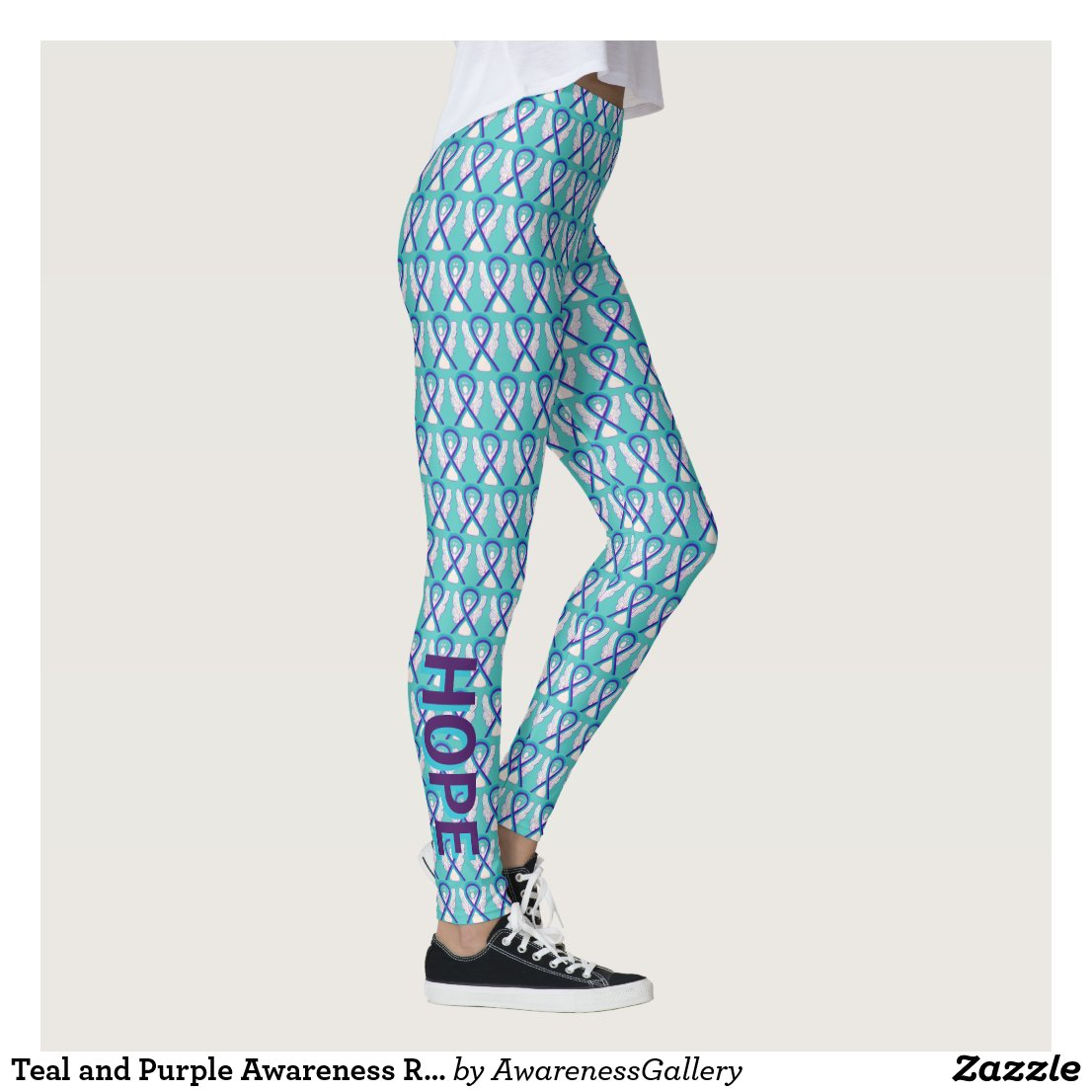 Teal and Purple Awareness Ribbon Angel Leggings