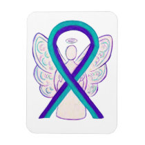 Teal and Purple Awareness Ribbon Angel Magnets