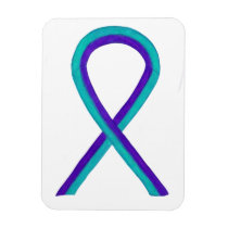Teal and Purple Awareness Ribbon Art Magnets