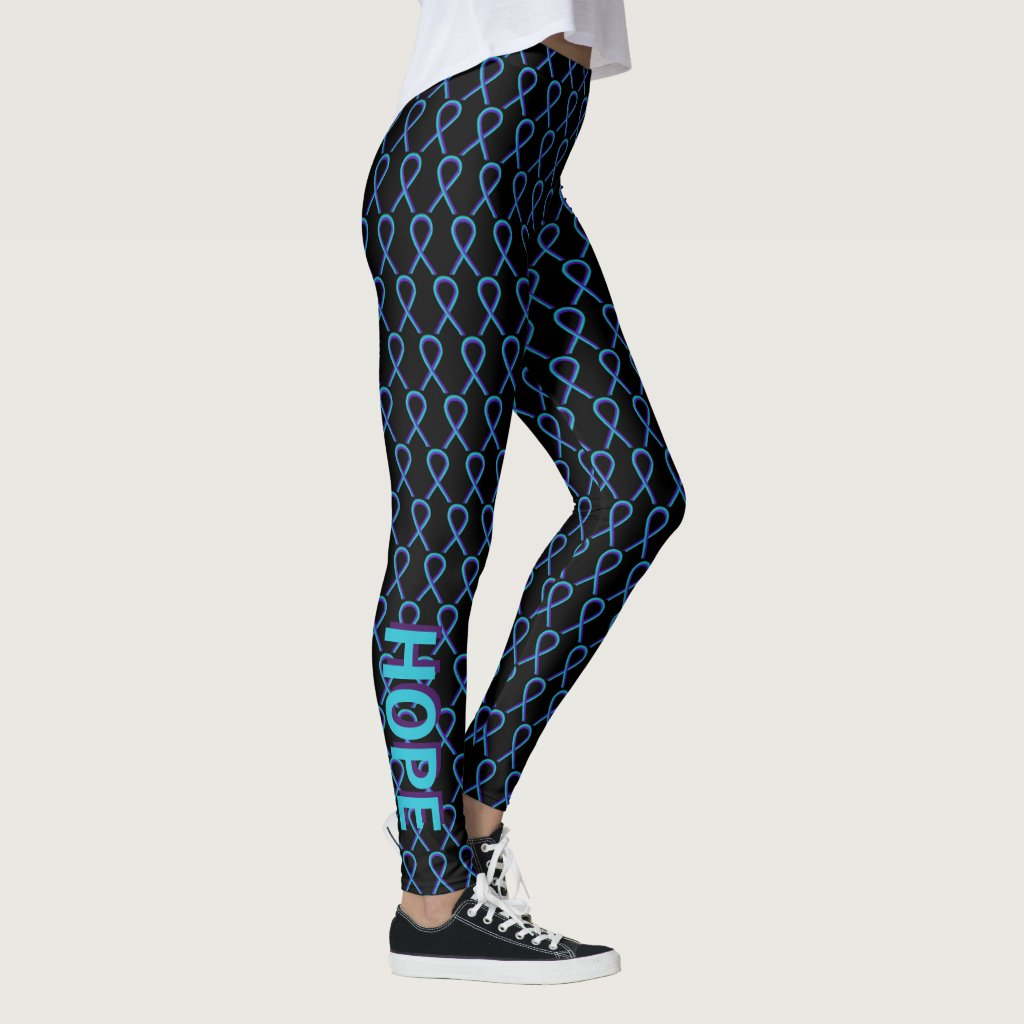 Teal and Purple Awareness Ribbon Custom Leggings
