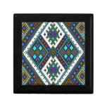 Teal and purple aztec pixel pattern. jewelry box