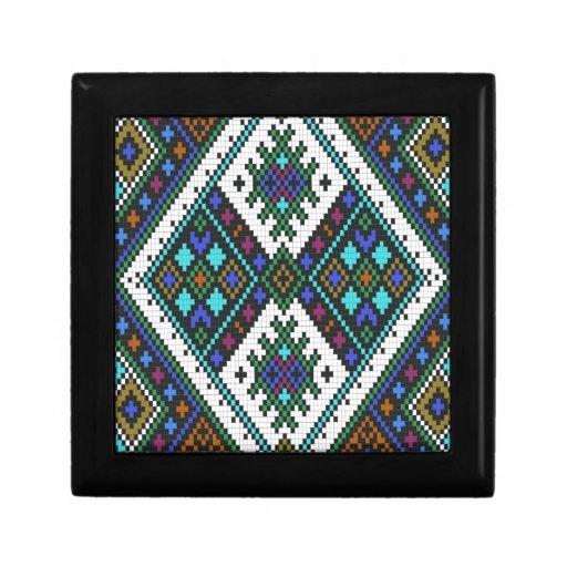 Teal and purple aztec pixel pattern. keepsake box