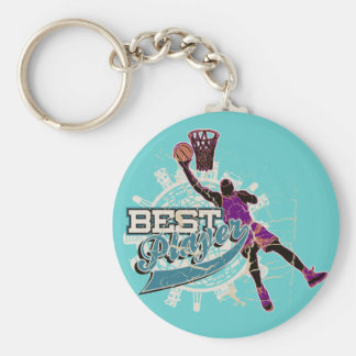 Teal and Purple Basketball Tshirts and Gifts Basic Round Button Keychain