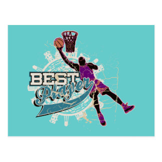 Teal and Purple Basketball Tshirts and Gifts Postcard