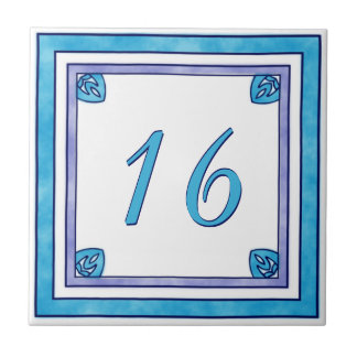 Teal and Purple Big House Number Tile