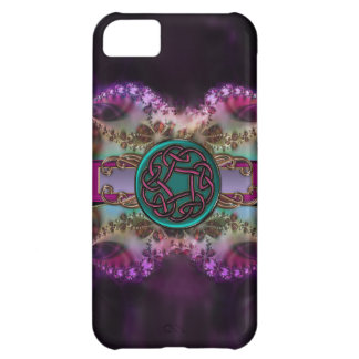Teal and Purple Celtic Knot on Fractal Pattern iPhone 5C Cover