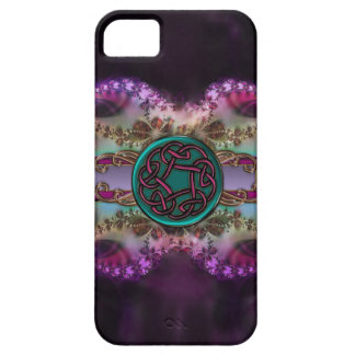 Teal and Purple Celtic Knot on Fractal Pattern iPhone SE/5/5s Case