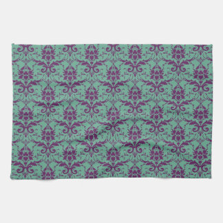 Teal and Purple Damask Kitchen Towels