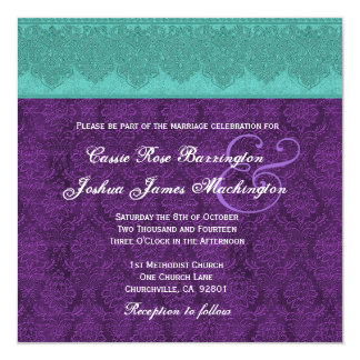 Teal and Purple Damask Monogram Wedding V15 5.25x5.25 Square Paper Invitation Card