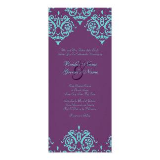 Teal and Purple Damask Wedding Invitation