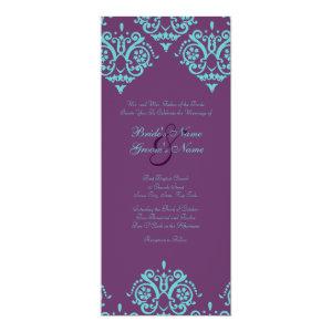 Teal and Purple Damask Wedding Invitation 4