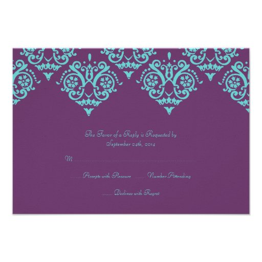 teal and purple damask wedding rsvp card custom announcements - Purple And Turquoise Wedding Invitations