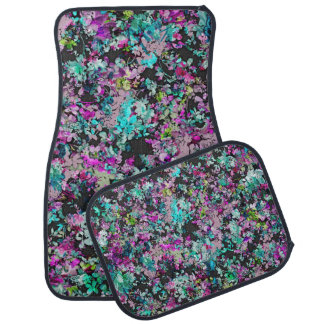 Teal and Purple Floral Collage Pattern Car Floor Mat