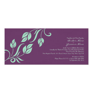 Teal and Purple Floral Leaves Wedding Invitation 4