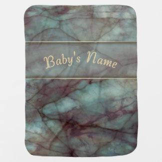 Teal and Purple Fluorite Marble Stroller Blanket