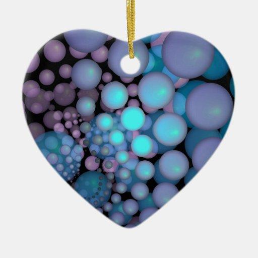Teal and Purple Fractal Art Floating Balls Ceramic Ornament