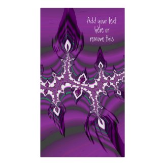 Teal and Purple Fractal Feathers with Custom Quote Poster