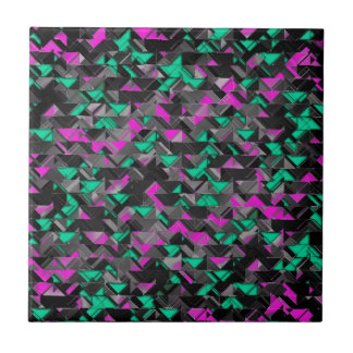 Teal and Purple Geometric Explosion Ceramic Tile