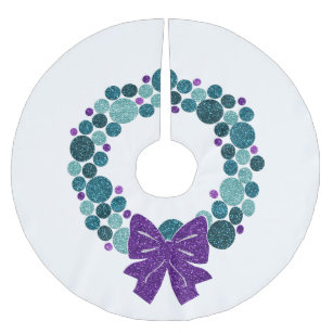Purple Christmas Tree Skirt.Teal And Purple Glittery Wreath Of Ornaments Brushed Polyester Tree Skirt