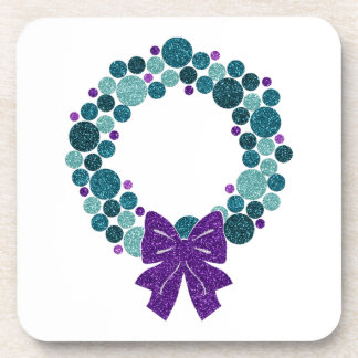 Teal and Purple Glittery Wreath of Ornaments Drink Coaster