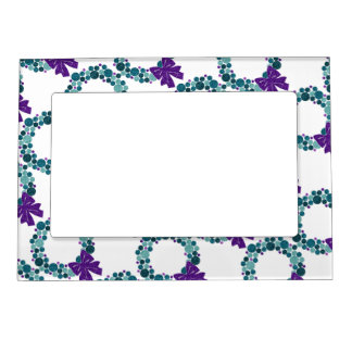 Teal and Purple Glittery Wreath of Ornaments Magnetic Frame