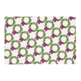Teal and Purple Glittery Wreath of Ornaments Placemat